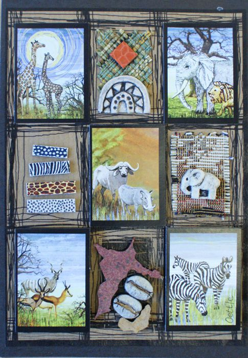 Handmade African Greeting Card - African Animals
