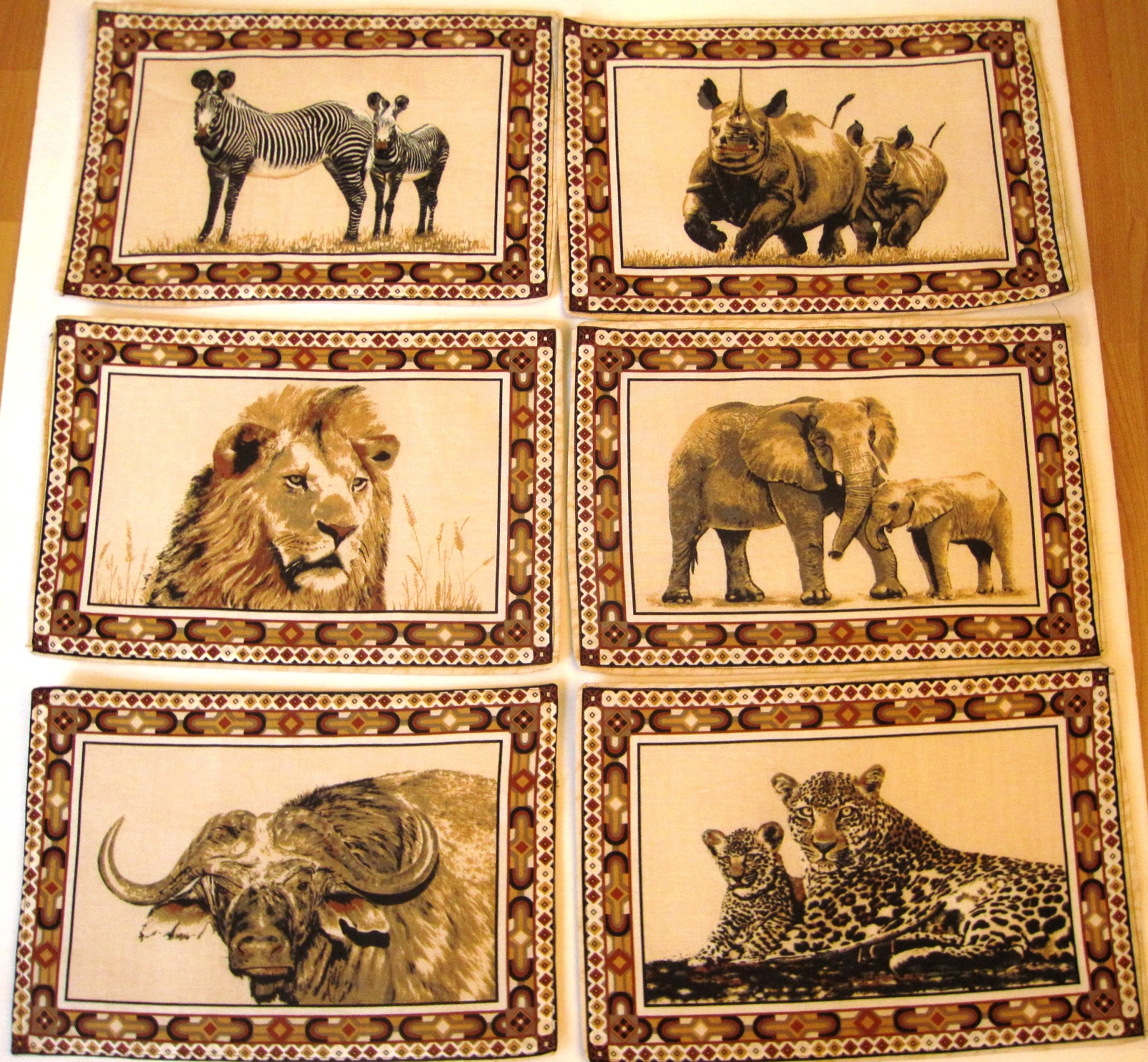 African Animals Batik Placemats - Set of 6