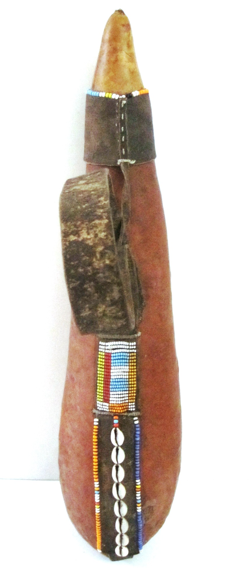 Gourd, leather, beads - #002