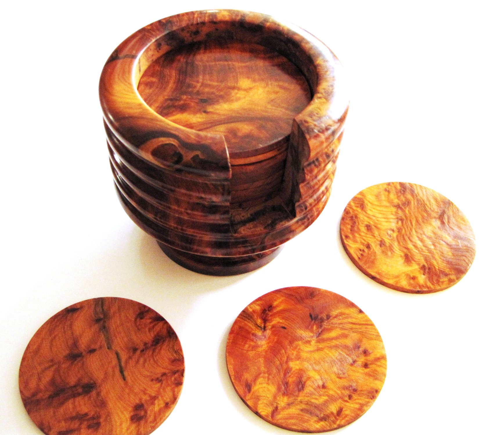 Handcrafted Thuya Coaster Set from Morocco
