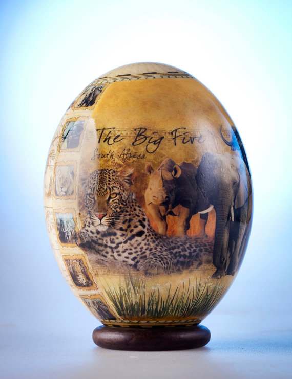 Decoupage Eggs Decoupage Big Five Ostrich Egg