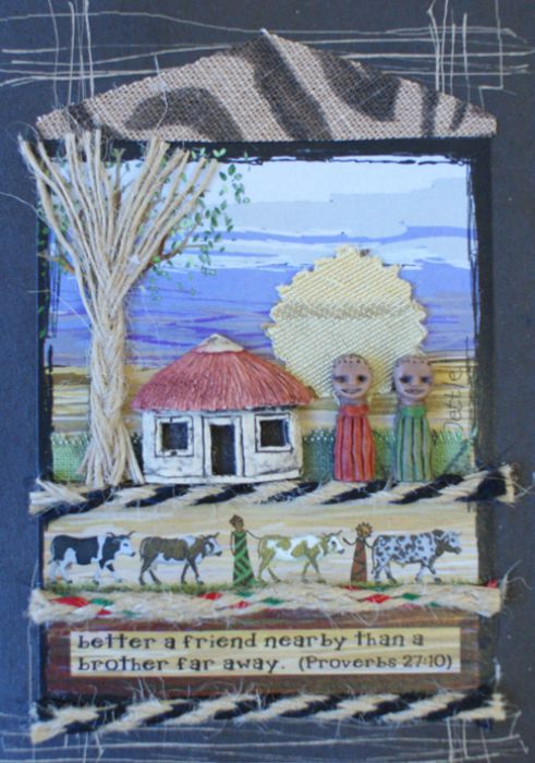 Handmade African Greeting Card - Friends Hut