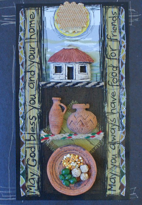 Handmade African Greeting Card - House and Home