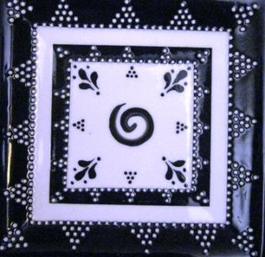 Black and White Square Plate - Medium