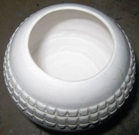 Zulu Clay Pot - White Traditional Design #1