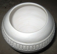 Zulu Clay Pot - White Traditional Design #2