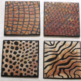 Slate Rock Coasters Animal Print Set of 4