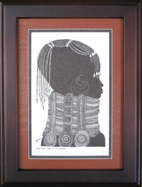 Girl with Necklace - Tan - Framed & Mounted