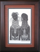 Two Turkana Girls - Tan - Framed & Mounted