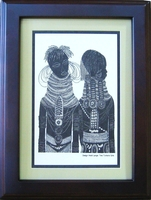 Two Turkana Girls - Avo - Framed & Mounted