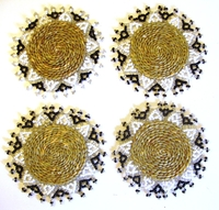 Ndebele Grass & Bead Coasters - Black & White - Set of 4