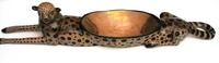 Wild Olive Wood Cheetah Serving Bowl
