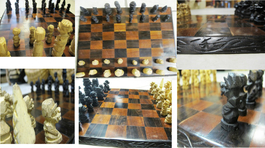 Hardwood Tribal Handcarved Chess Set - Malawi