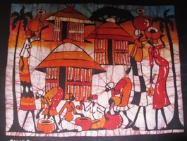 Mozambique original batik painting  #003