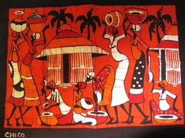 Mozambique original batik painting  #005