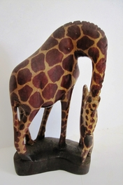 HandCarved Giraffe - Mother and Child - Small