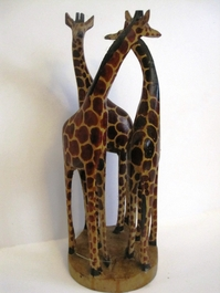 HandCarved Giraffe Family of 3