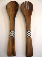 Bone/Wood Salad Server Server Set #002
