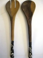 Bone/Wood Salad Server Server Set #007