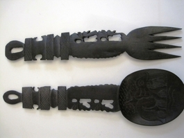 Ebony Ele Salad Server Set #001