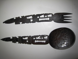 Ebony Rhino Salad Server Set #006