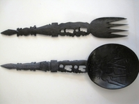 Ebony Salad Server Set #003