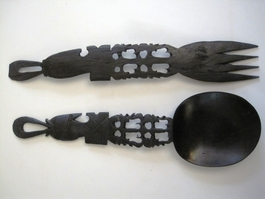 Ebony Salad Server Set #002