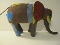 Elephant Metal Sculpture - Multi Color