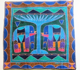100% Hand-Embroidered Shangaan Cushion Cover  #3321