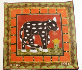 100% Hand-Embroidered Shangaan Cushion Cover  #3324