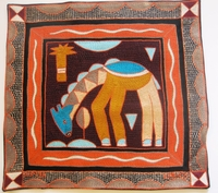 100% Hand-Embroidered Shangaan Cushion Cover  #3326