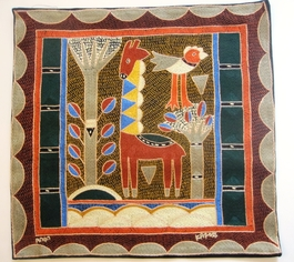 100% Hand-Embroidered Shangaan Cushion Cover  #3323