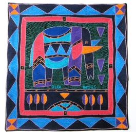 100% Hand-Embroidered Shangaan Cushion Cover  #3349