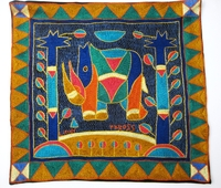 100% Hand-Embroidered Shangaan Cushion Cover  #3351