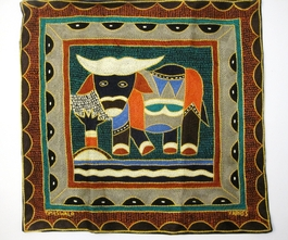 100% Hand-Embroidered Shangaan Cushion Cover  #3350