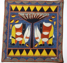 100% Hand-Embroidered Shangaan Cushion Cover  #3352