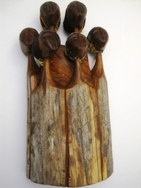 Mozambique - Sandalwood Family Figure of Five