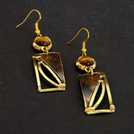 Swayed Rectangle Brass Earrings with Tiger eye