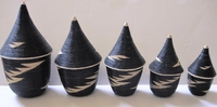 Rwanda Tutsi Basket Set of 5 - Black