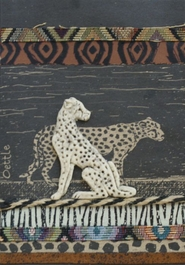 Handmade African Greeting Card - Two Cheetahs