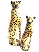 Handcrafted Cheetah Carvings from Zimbabwe - Set of 2