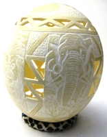Handcarved Big Five Ostrich Egg