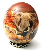 Big Five Decoupage Ostrich Egg