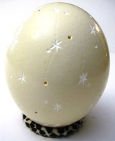Handcarved Star Light Ostrich Egg