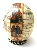 Decoupage Map of the world Ostrich Egg