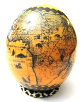 Big Five & Map of Africa Decoupage Ostrich Egg