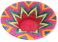 Handwoven Lutindzi Basket from Swaziland - Rainbow - XL