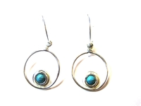 Silver Earrings Turquoise Stone 003