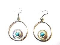 Silver Earrings Turquoise Stone 004