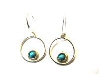 Silver Earrings Turquoise Stone 002